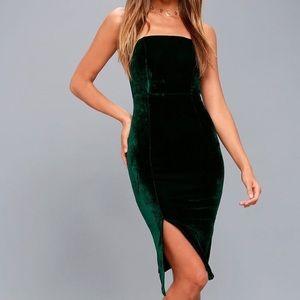 Lulus Velvet Green Bodycon Dress